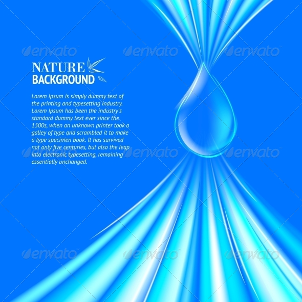 Blue Water Drop Background. - Abstract Conceptual