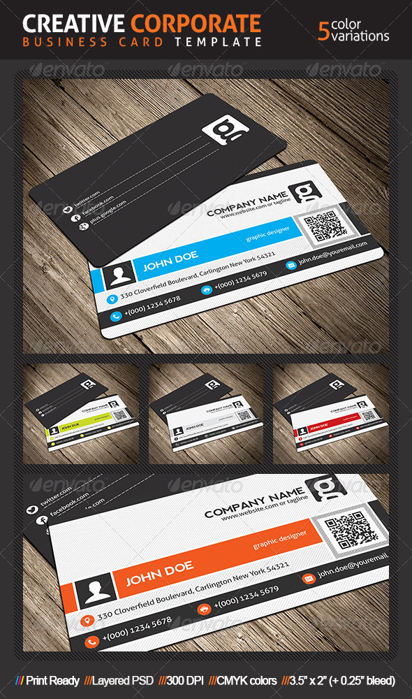Creative Corporate Business Card With QR Code by mengloong ...