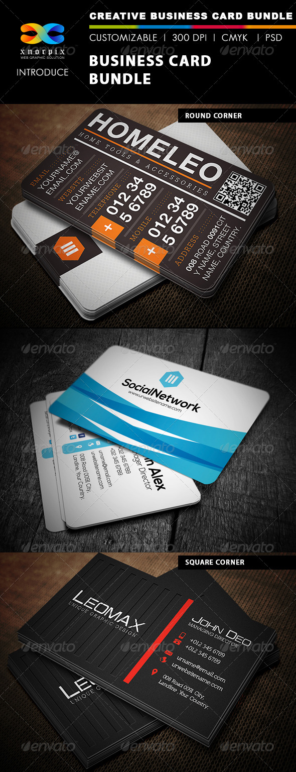 Business Card Bundle 3 in 1-Vol 1 - Corporate Business Cards