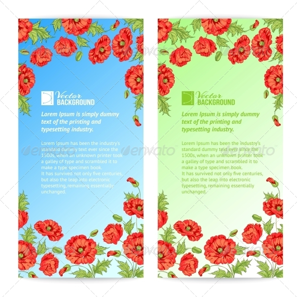 Banner of Stylized Poppies - Flowers & Plants Nature