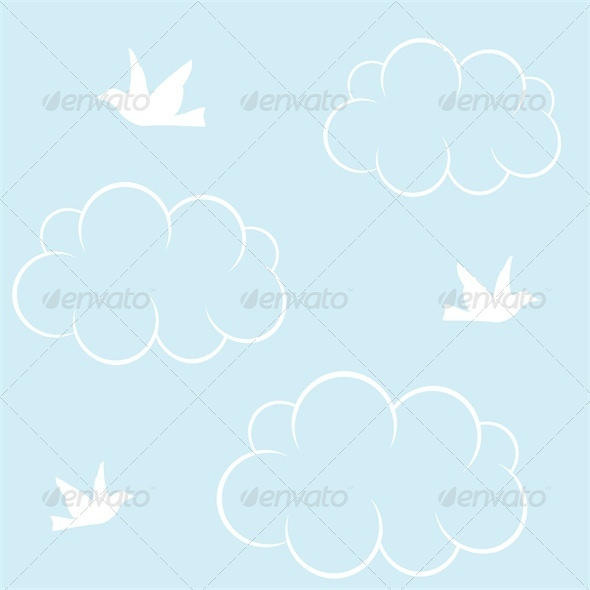 Seamless Background with White Birds and Clouds - Landscapes Nature