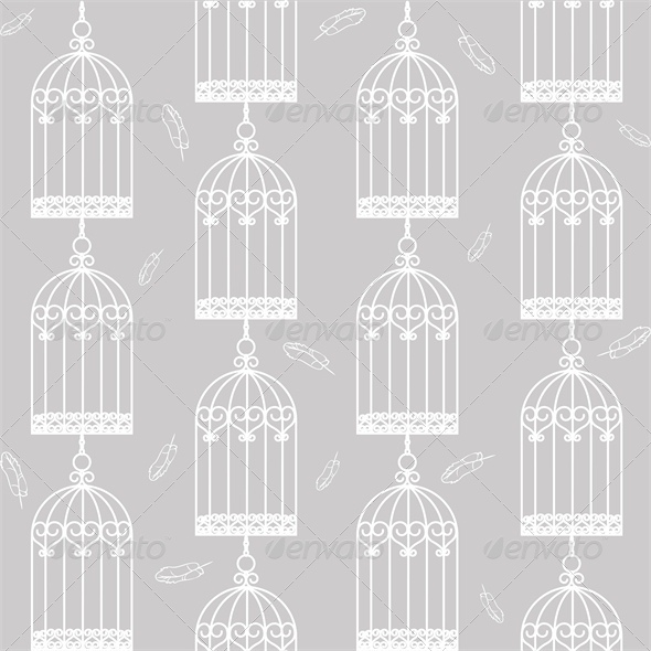 Gray Seamless Background with Birdcages - Man-made Objects Objects