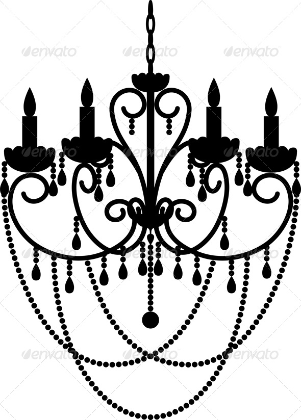 Black Silhouette of Chandelier with Beads - Man-made Objects Objects