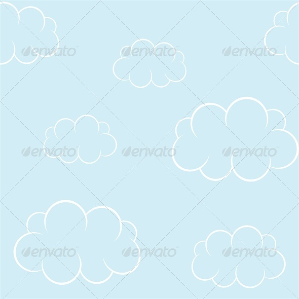 Cartoon Clouds on Blue Sky. Seamless Background - Landscapes Nature