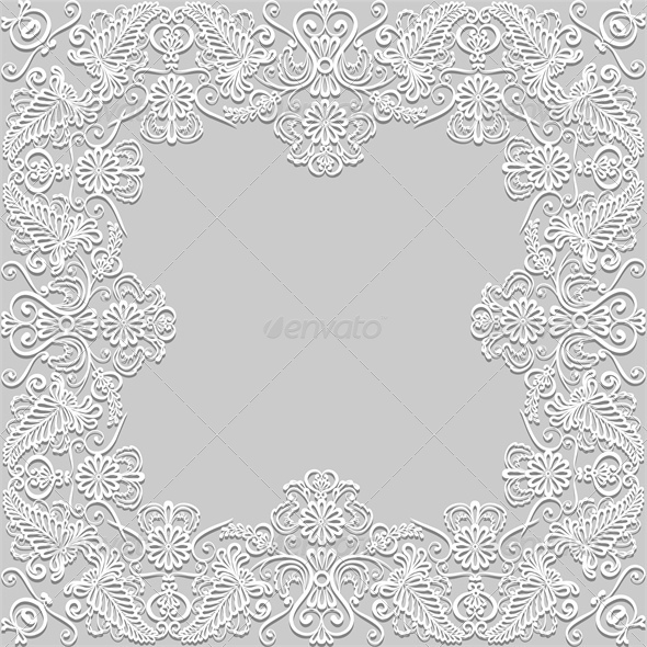 White Floral Paper Lace Frame - Backgrounds Decorative