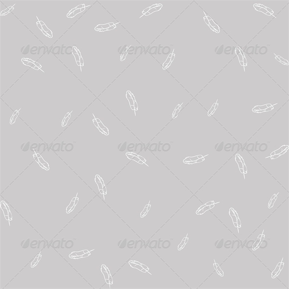 Seamless Gray Background with White Feathers - Organic Objects Objects