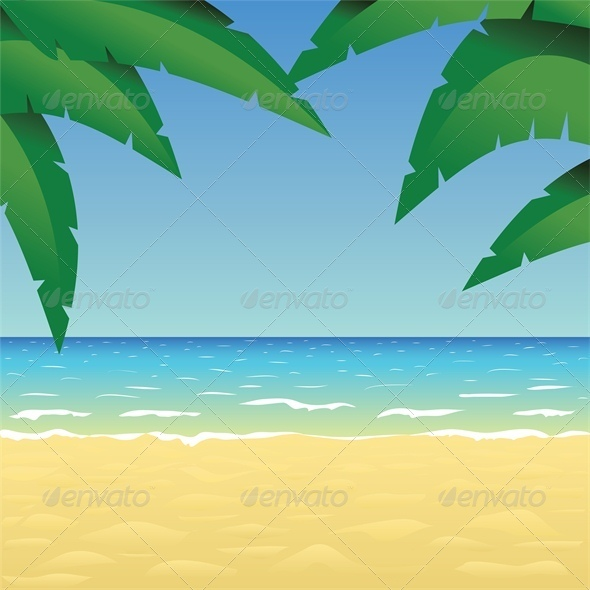 Ocean, Sand Beach and Palm - Landscapes Nature