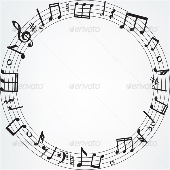 Background with Music Notes Border - Backgrounds Decorative