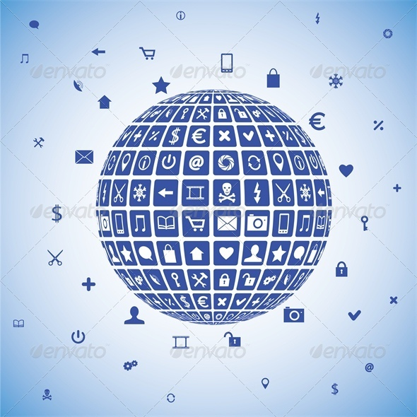 Ball with Mobile Phone and Business Icons - Communications Technology