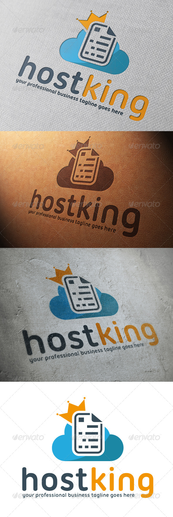 Cloud Host King Logo Template - Vector Abstract