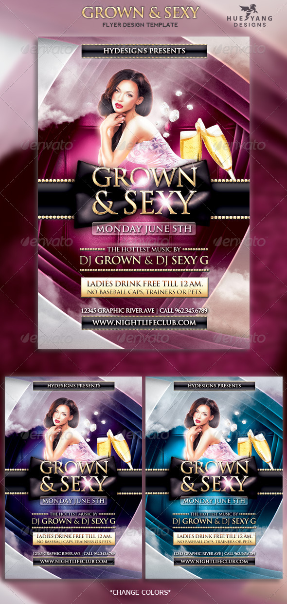 Grown and Sexy Flyer - Clubs & Parties Events