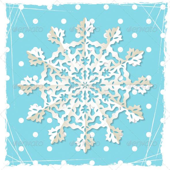 Christmas Grunge Background Origami Snowflake - Christmas Seasons/Holidays