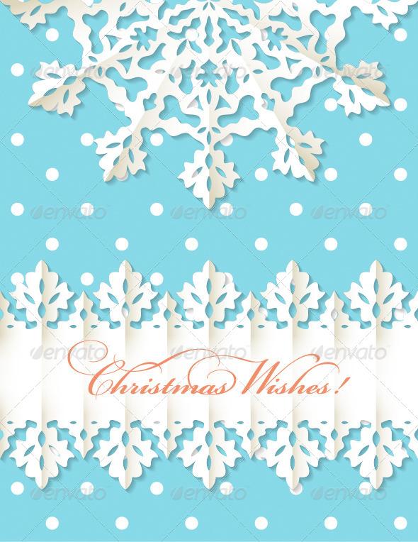 Christmas Origami Snowflake Vector Background - Christmas Seasons/Holidays