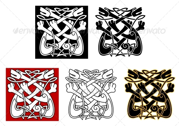 Celtic Ornament with Dogs and Wolves - Tattoos Vectors