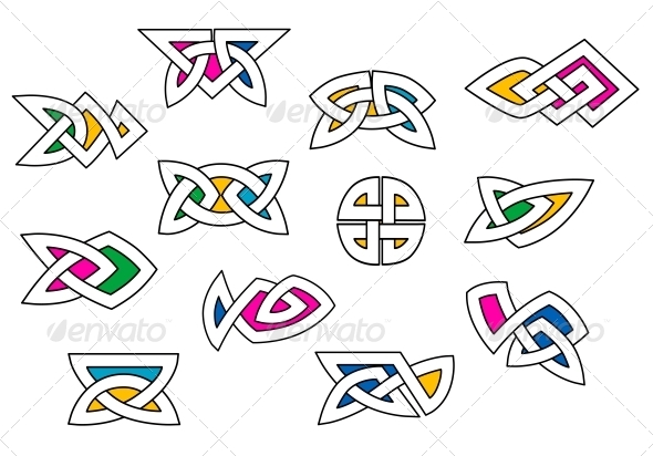 Shapes and Elements in Celtic Ornament Style - Decorative Symbols Decorative