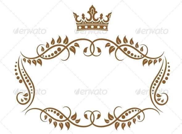 Elegant Royal Medieval Frame with Crown - Borders Decorative