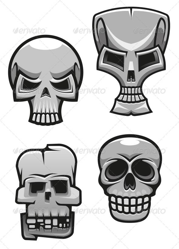 Set of Monster Skull Mascots - Tattoos Vectors