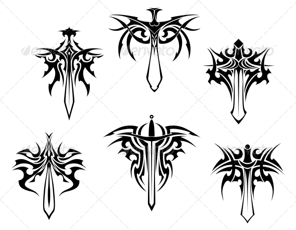 Tattoo with Swords and Daggers - Tattoos Vectors