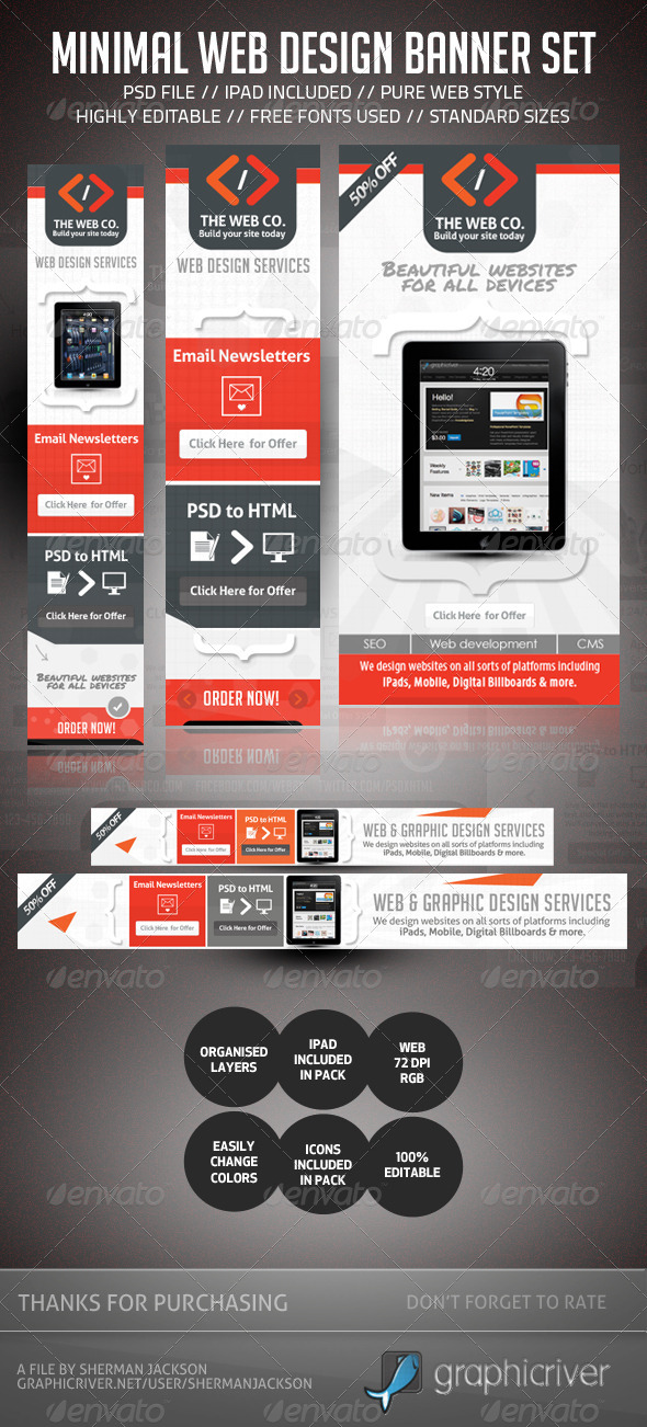 Minimal Web Design AD Banner Set  - Banners & Ads Web Elements