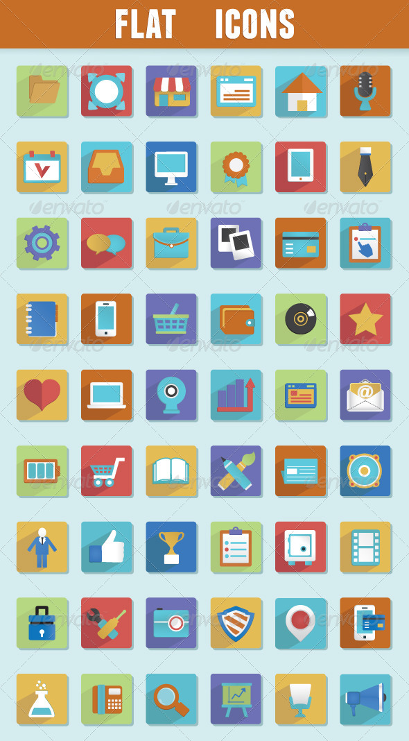 Flat Icons for Design - Media Icons