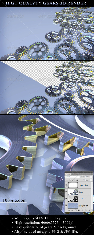 3D Gears Render - Technology 3D Renders