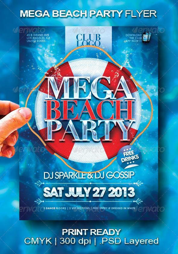 Mega Beach Party Flyer - Events Flyers