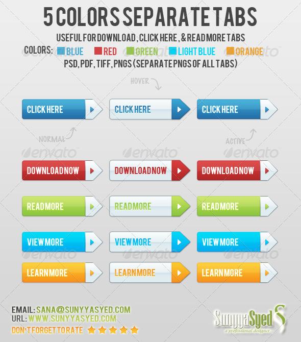 5 Colors Separate Tabs - Navigation Bars Web Elements