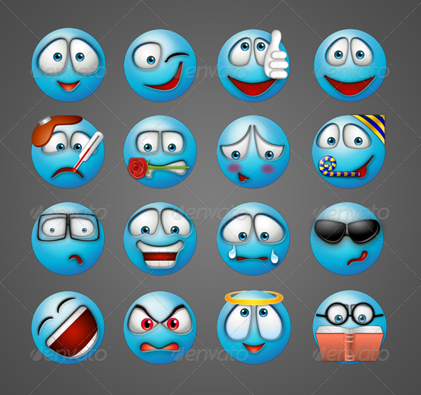 Blue Painted Emoticons - Characters Illustrations