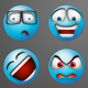 Blue Painted Emoticons - GraphicRiver Item for Sale