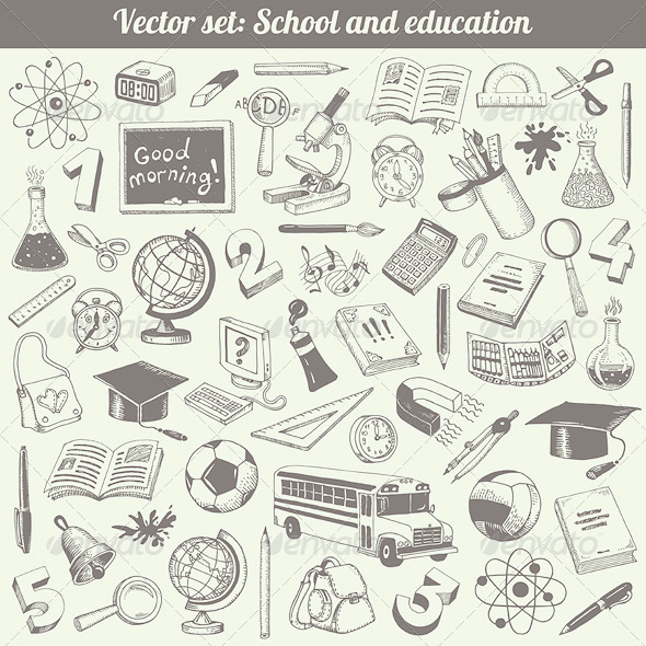 School and Education Vector Set - Man-made Objects Objects