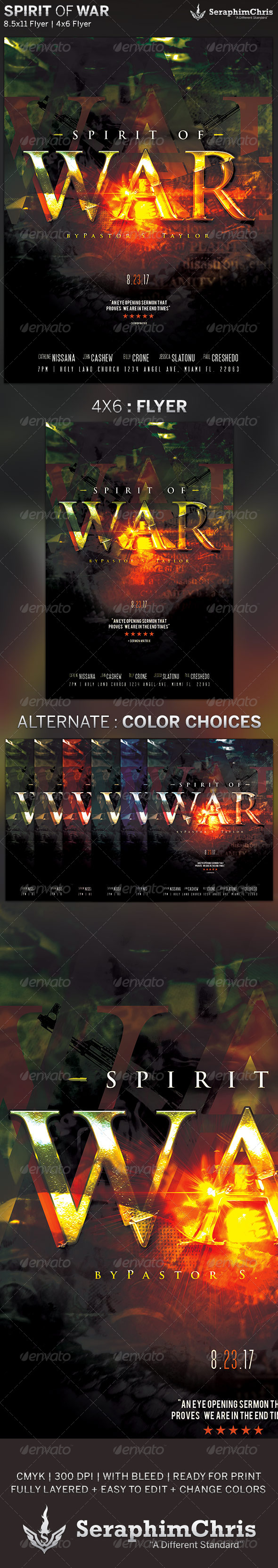 Spirit of War: Church Flyer Template - Church Flyers