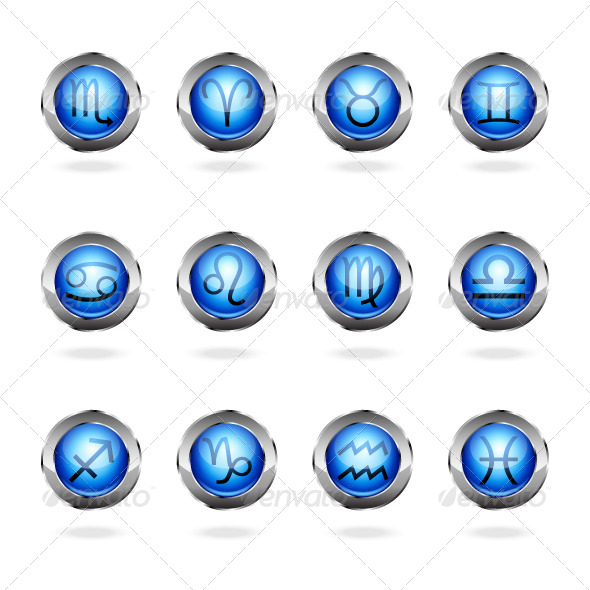 Zodiac Astrology Signs Button Set - Web Elements Vectors