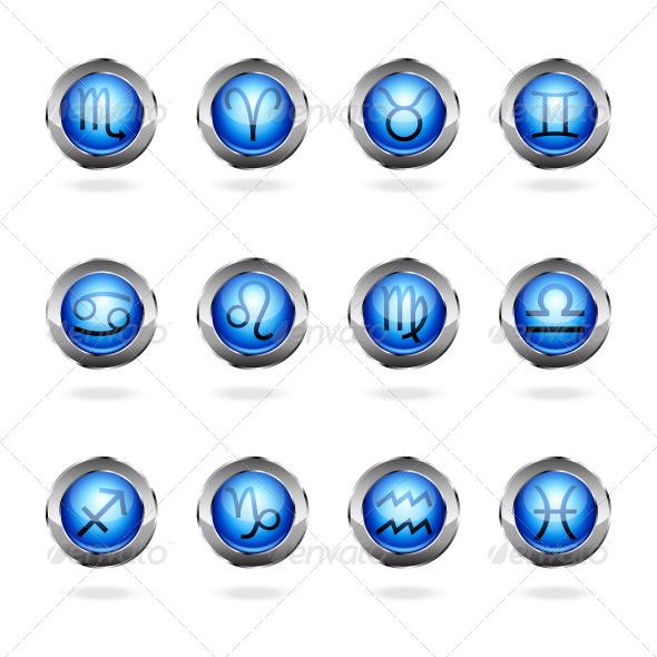 Zodiac Astrology Signs Button Set - Web Elements Vectors