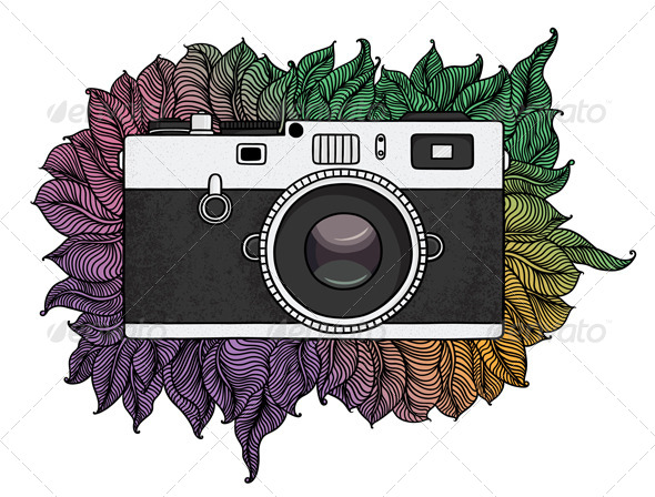 Retro Photo Camera with Abstract Pattern - Retro Technology