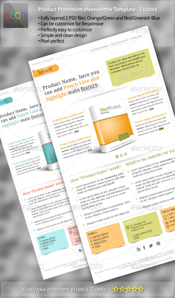 Product Promotion eNewsletter Template - 2 colors - E-newsletters Web Elements