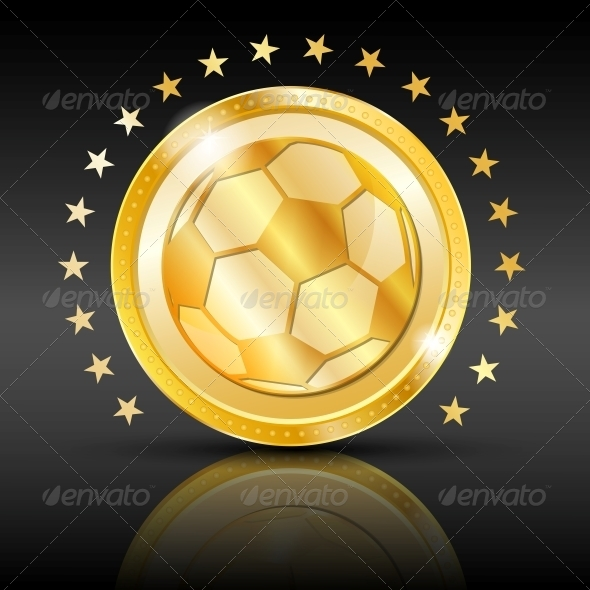 Gold Football Coin Sport Background - Web Technology