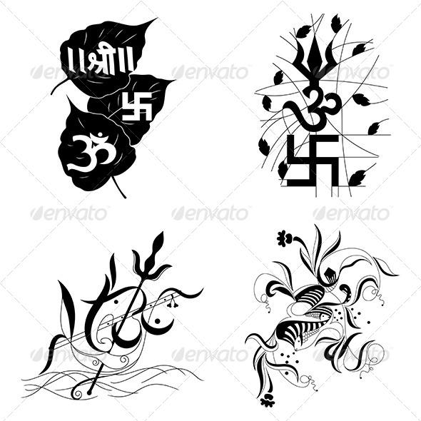 Hindu Religious sign Aum or Om-Vector Designs Pack - Religion Conceptual