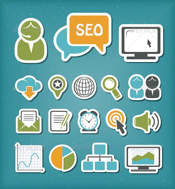 SEO Icons Set - Communications Technology