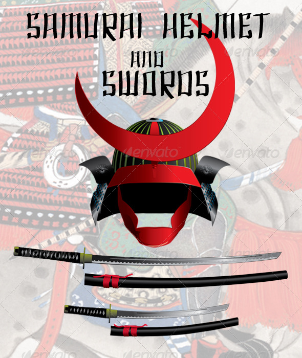 Samurai Helmet and Swords - Man-made Objects Objects