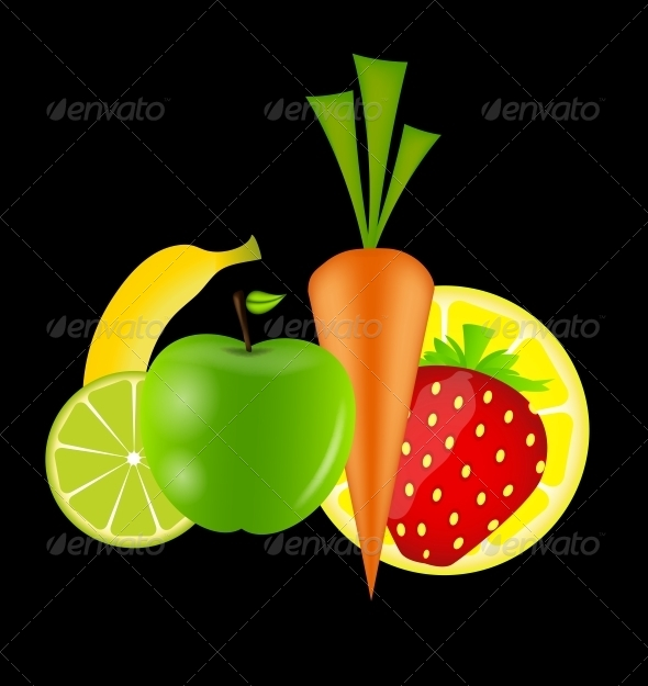 Healthy Food Menu Template Vector Illustration - Food Objects