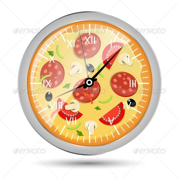 Pizza Watch Concept Vector Illustration - Food Objects