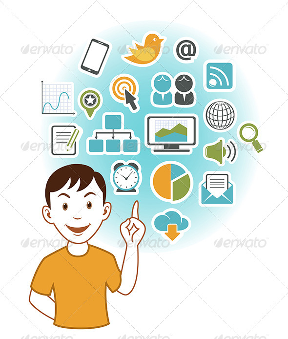 Man with SEO Icons - Media Technology