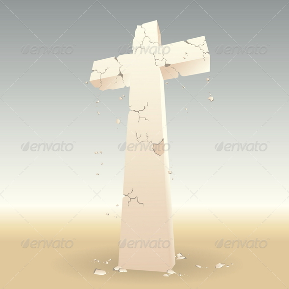 Crumbling Cross - Religion Conceptual