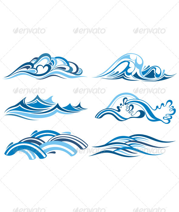 Blue Water Waves - Decorative Symbols Decorative