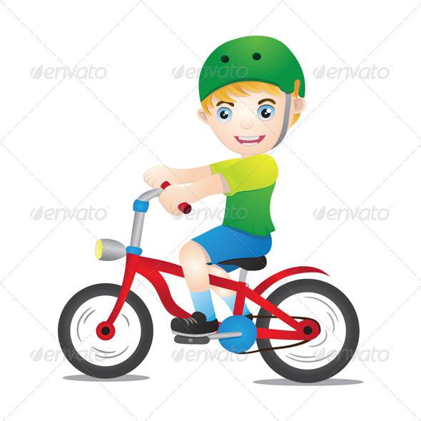 Bicycle Boys Using Helmet - People Characters