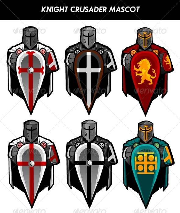 Crusader Knight On Shield Mascot By Fuandhobr Graphicriver