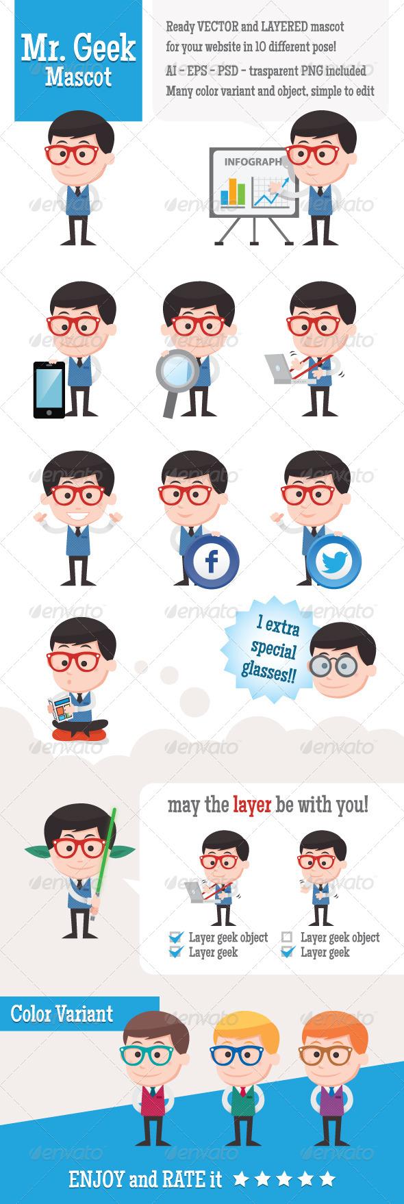 Mr. Geek Mascot - People Characters