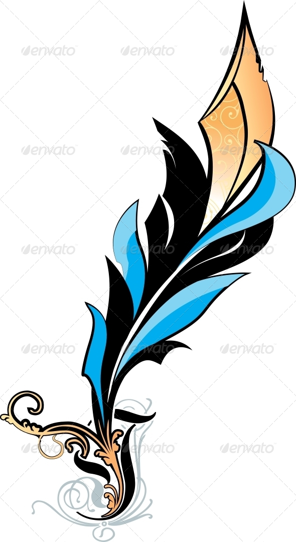 Blue Feather Illustration on White Background - Decorative Symbols Decorative
