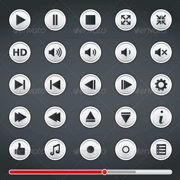 Buttons for Media Player - Web Elements Vectors