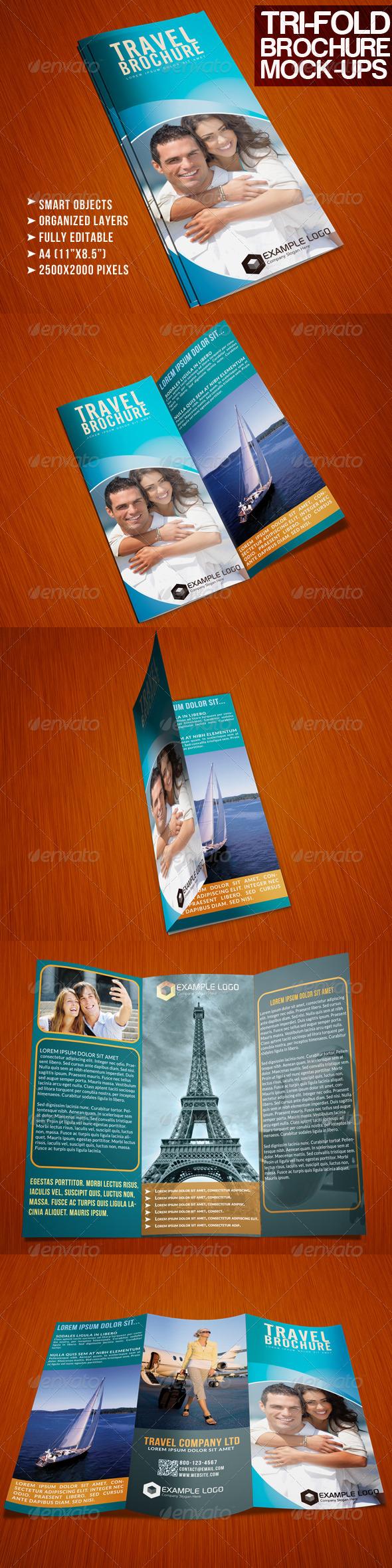 Photorealistic Tri-Fold A4 Brochure Mock-up - Brochures Print